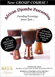 10 week djembe course 7:00 on tuesdays starting end of April